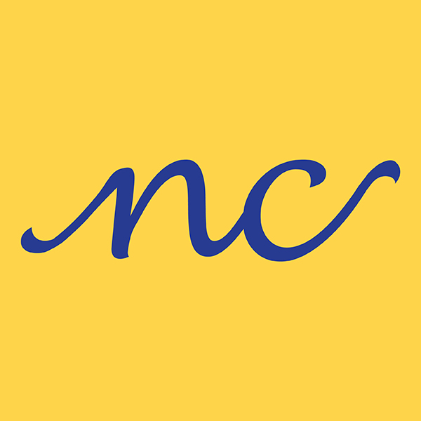 Neeraj Chopra logo. Blue cursive lower case N and C letters on a yellow background.