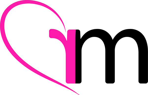 Raissa Maniezzo logo. Pink reversed letter R and Black M in a half heart shape.