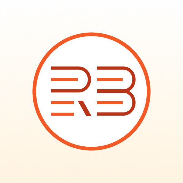 Rita Bustamante logo. Orange and red R and B inside a circle on a white background.