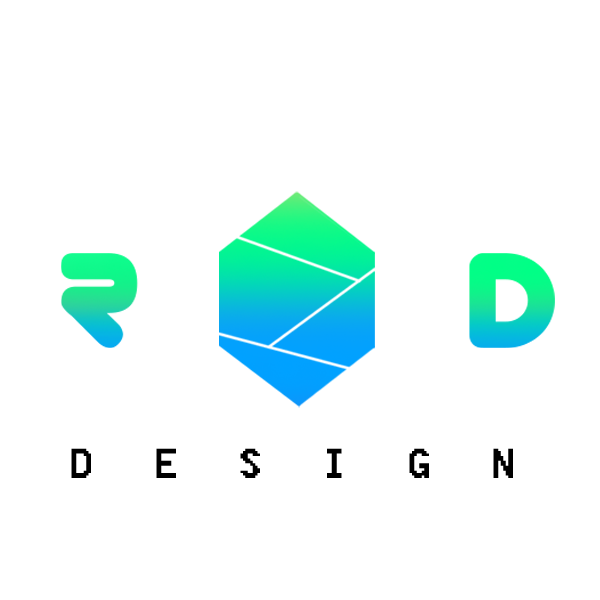 Ritaban Dass logo. R and D design with a geometric shape in blue and green gradient.