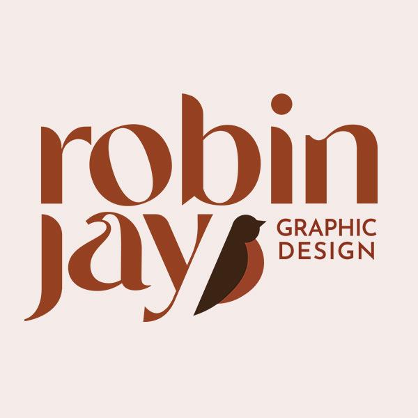 Robin Schneider logo. Robin Jay Graphic Design with an illustrated bird.