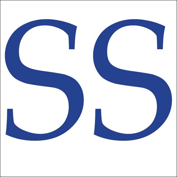 Shivani Sawhney logo. Two blue serif letter S's