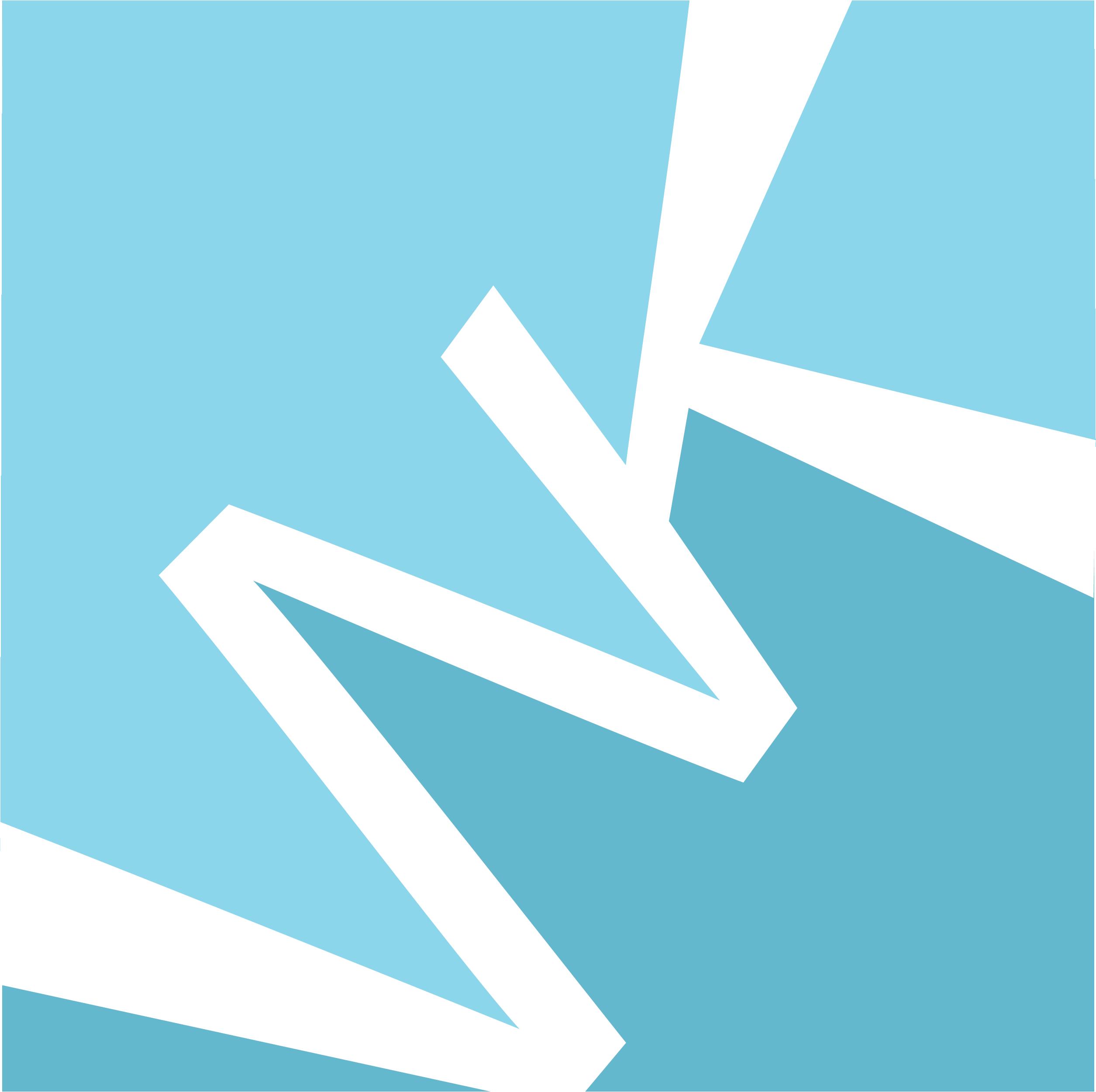 Wendy Kovacaj logo. Diagonal W and K in white on a blue background.