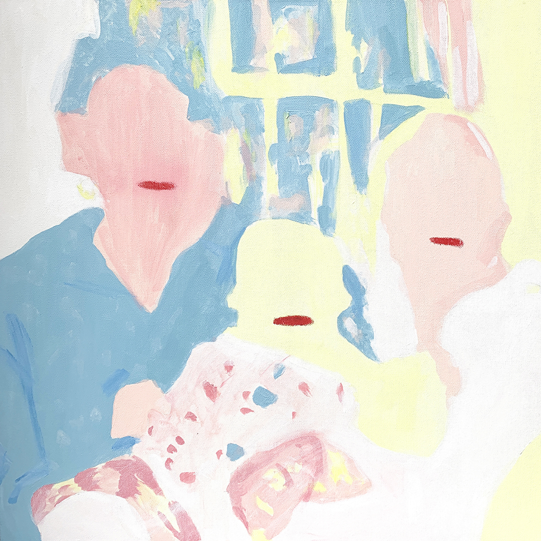 A mixed media artwork of a square orientation. There are 3 abstract representations of human figures. From left to right: an adult, a baby, and another adult. The figures are rendered in pastel yellow, pastel blue, and pastel pink acrylic paint, and do not have facial features other than a deep red line of oil pastel in the position of lips.