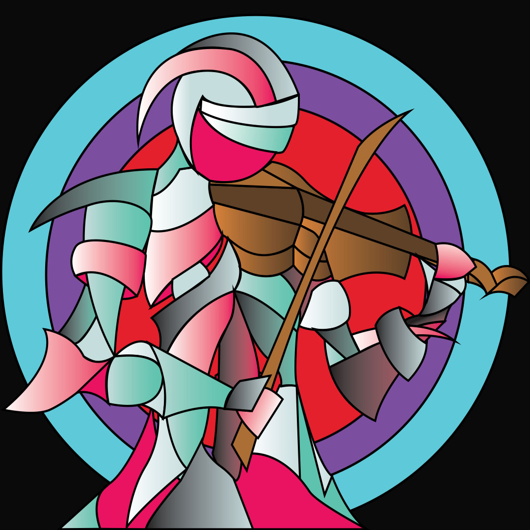 This art piece is an oil painting on canvas that showcases a figure made of curved and pointed shapes. The shapes that make up the main character are made up of gradients at different angles, creating three-dimensional forms. The main character is depicted playing an instrument on its shoulder. The background has three circles, one red, one purple, and one blue, which frames the main character.