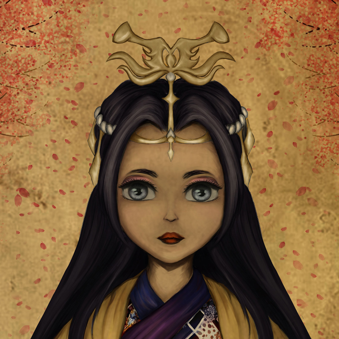 """A female figure is centered in the image. The female has long dark hair and a serious expression with big silver eyes that look directly at viewer. The figure is wearing traditional Japanese clothing and gold colored hair ornaments. The whole image has a yellow tint to it which gives it an """"old paper"""" quality to it. In the background cherry blossom petals are seeing falling in pink and orange hues."""