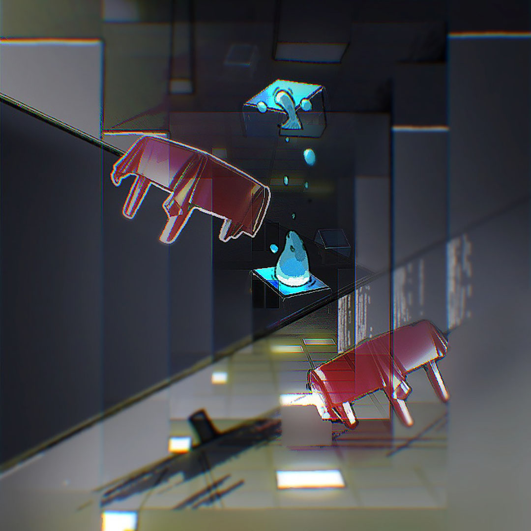 A mixed media digital piece, with several geometric forms in a grey - black background. Pink tables, blue and yellow lights exist in the space with a rendered walrus coming out of two blue panels.