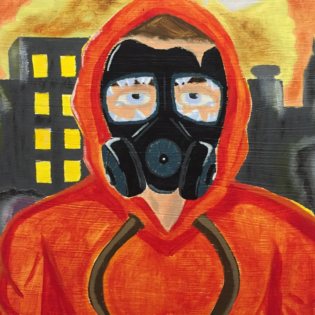 Human character with brown hair, wearing an orange hoodie along with a black broken anti gas mask. The character eyes are blue and there are tears coming from the corner of each eye. There is also a destroyed city as a background, as well as an orange and yellow smoke cloud surrounding the buildings.