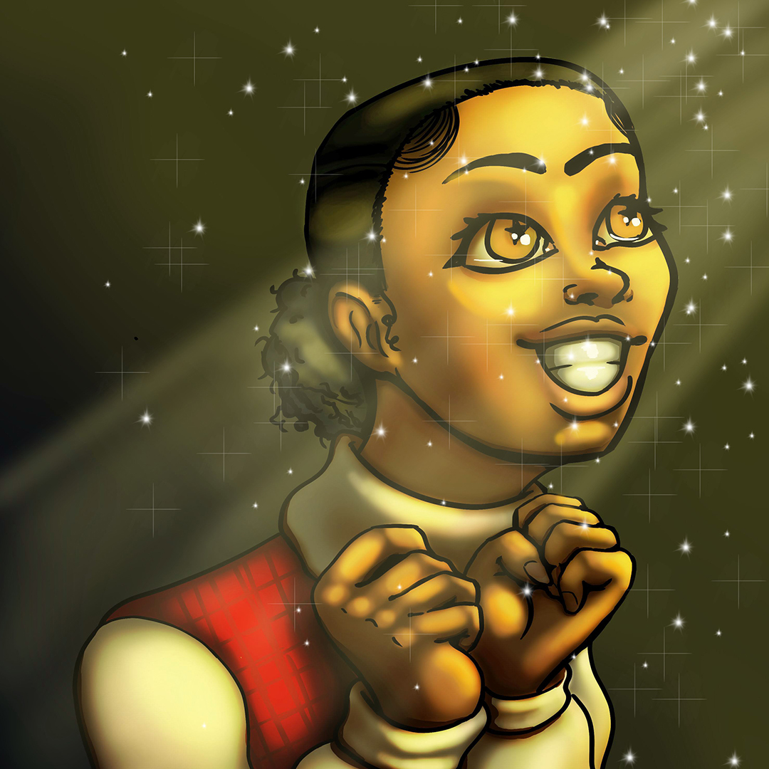 This image shows the portrait of a girl with a low puff smiling excitingly while looking up to the top right of the piece. She has starry eyes, a soft light beam shining down on her. She is wearing a turtleneck sweater.
