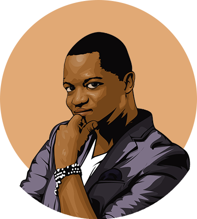 A vector headshot of Matthieu Disna in front of a beige circle. Matthieu is wearing a gray blazer and wrist accessory.