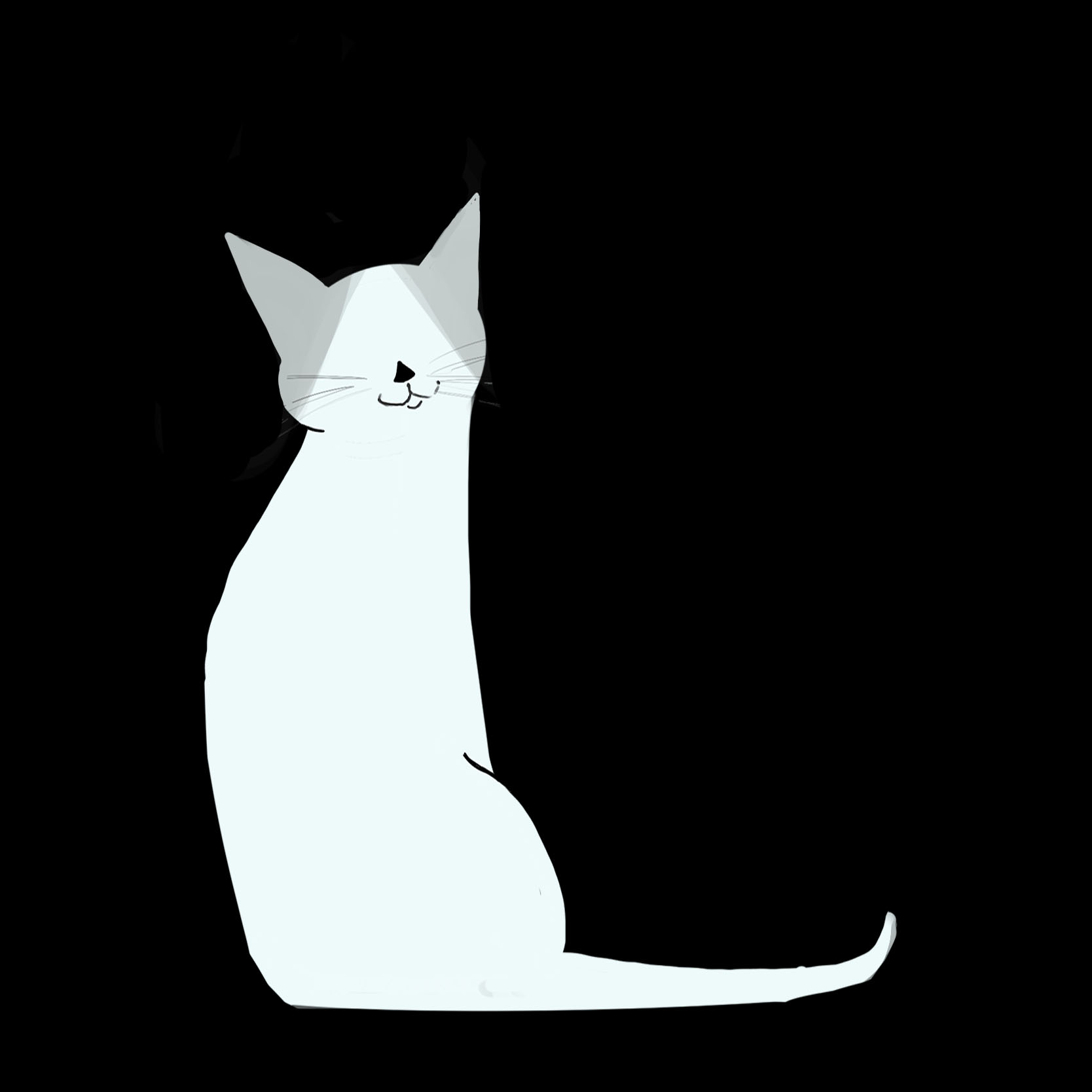 A personal logo - A black and white cat sitting calmly and looking ahead with its tail curled up with text that reads Catherine Claveau.