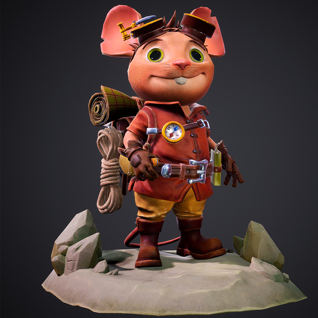 A render of a 3D stylized mouse explorer carrying his tools and equipment to help aid him on his adventures.
