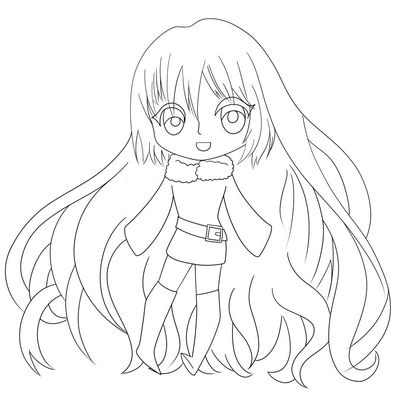 A line art of a chibi character with long flowing hair and big eyes. Wearing a sweater dress that has a fur neck line and long bell sleeves that cover the hands. A belt angled on the waistline of the dress and knee high boots.