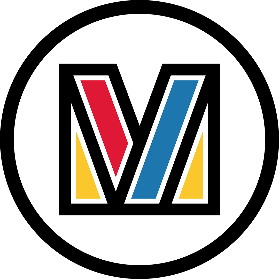 A logo with an uppercase M in a cirlce outlined in black. The M is filled in with yellow, blue and red blocks of colour.