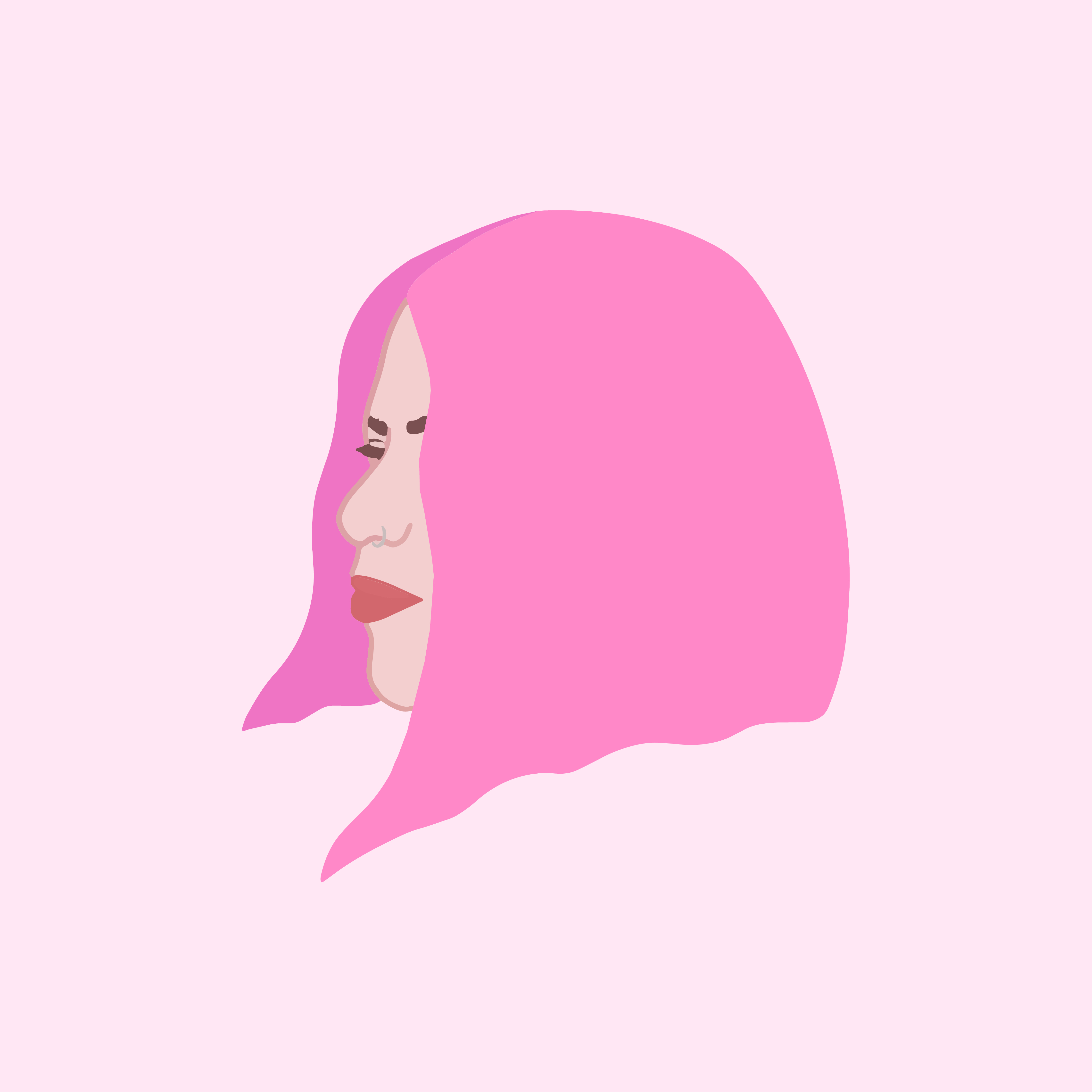 An illustration of a woman in profile with bright pink shoulder length hair on a light pink backgound. She is wearing red lipstick and has a ring in her nose.