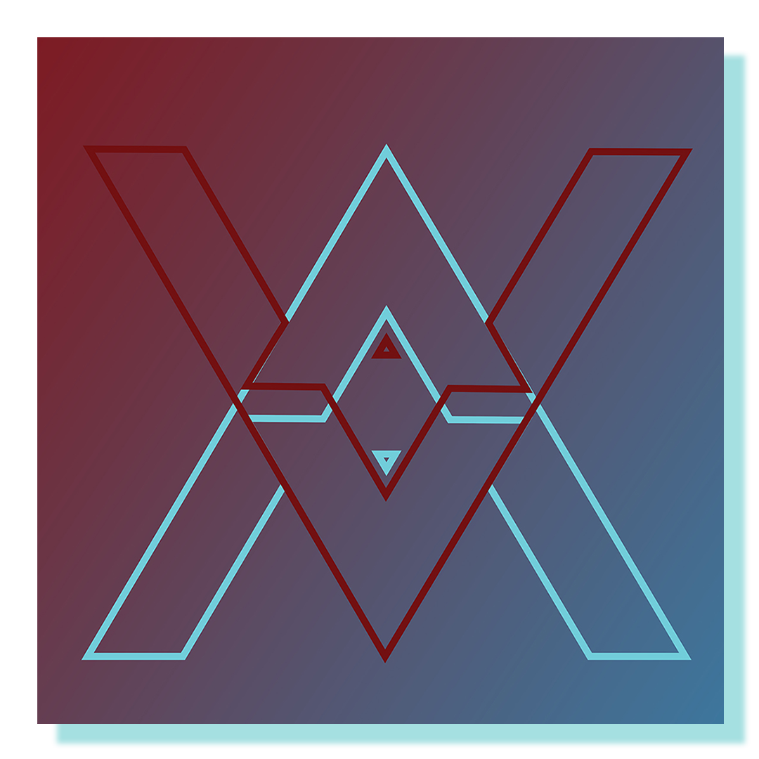 Two letter A's flipped symmetrically on top of one another with a blue and red gradient background