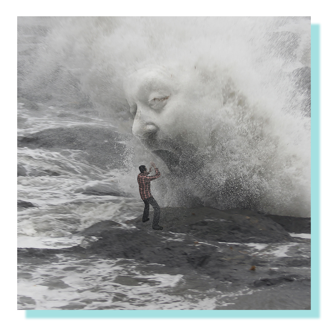 A black and white composite photo of three images: wave, face and person standing