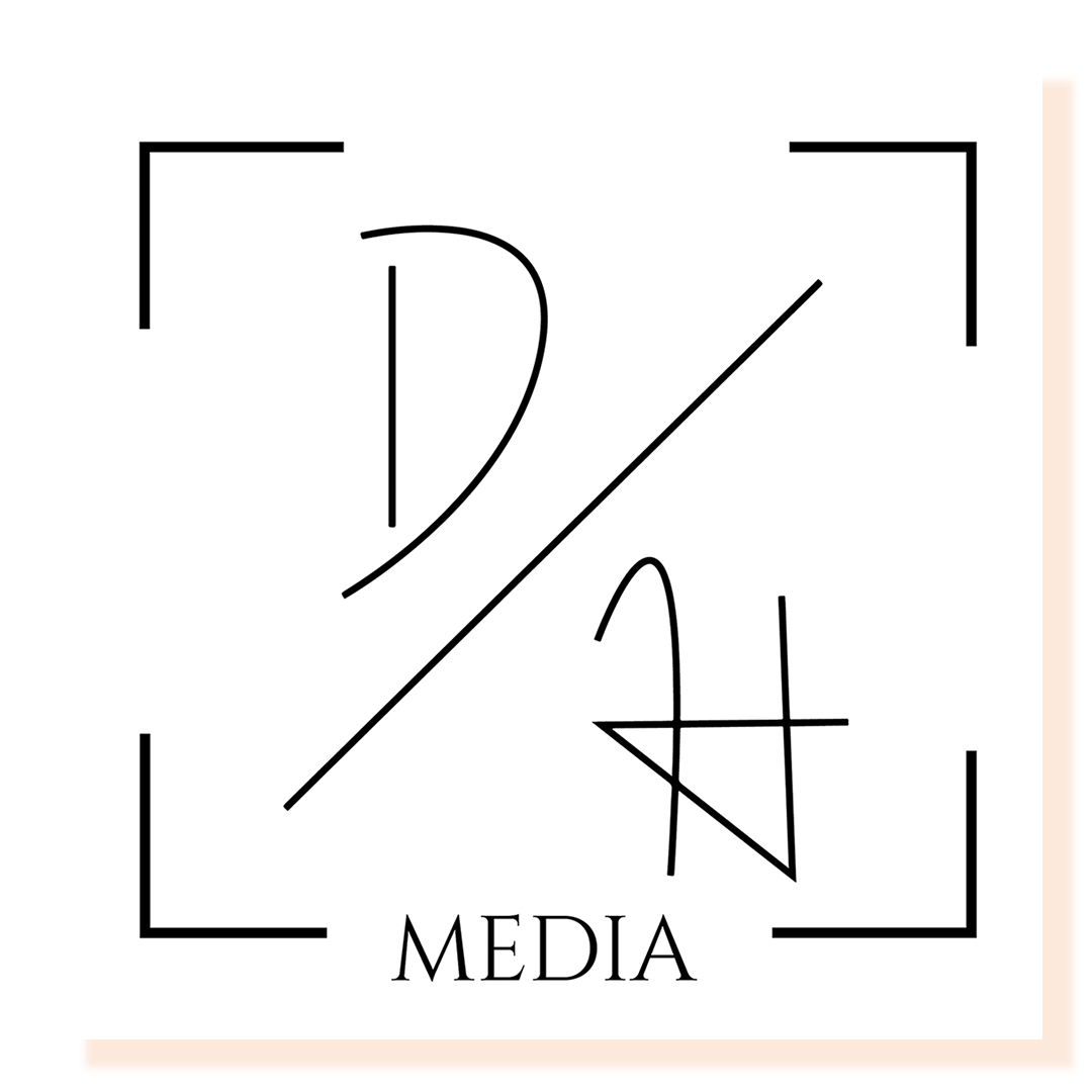 Black and white line drawing of a logo with letters D & H.