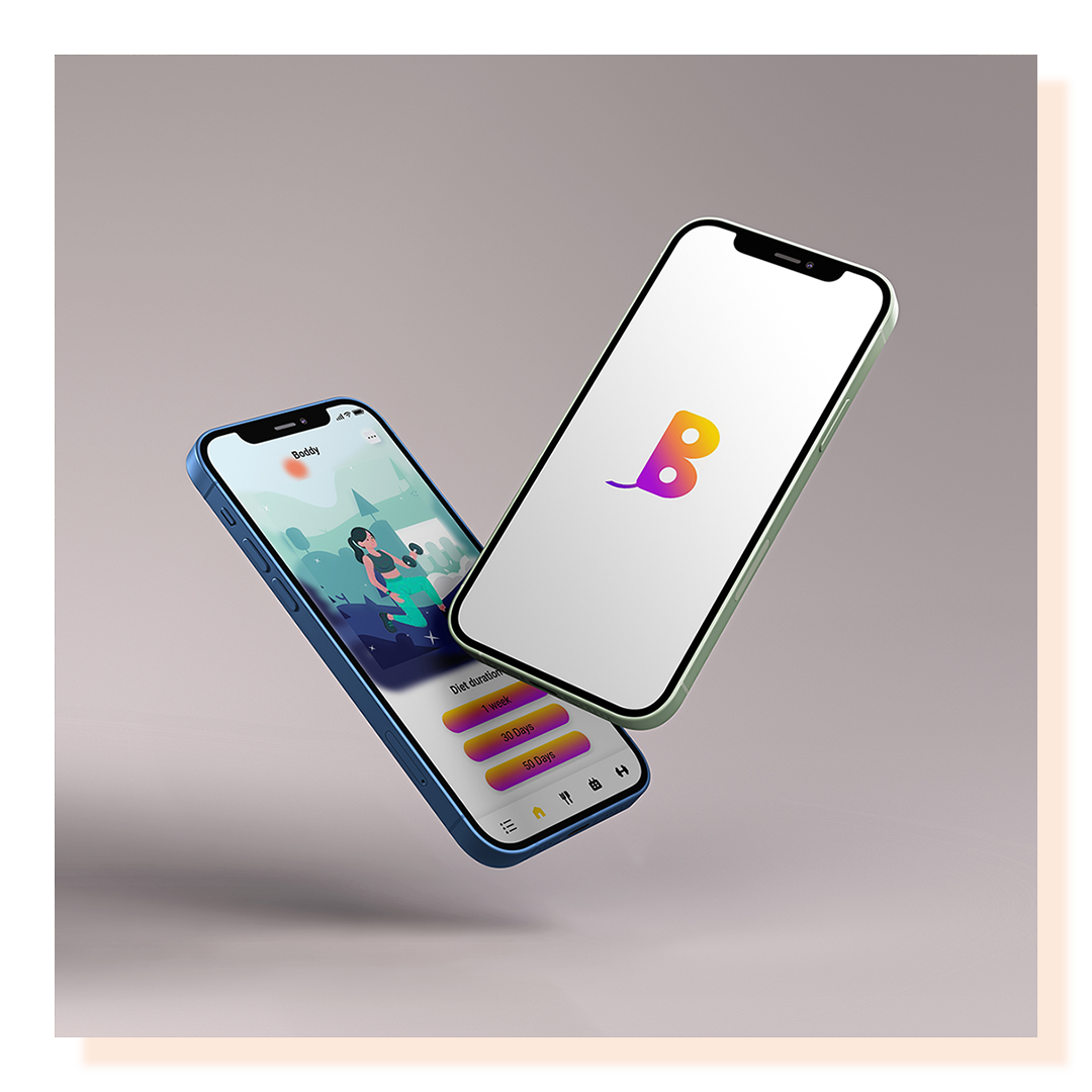 Two cell phone screens showing an app design prototype for a fitness company.