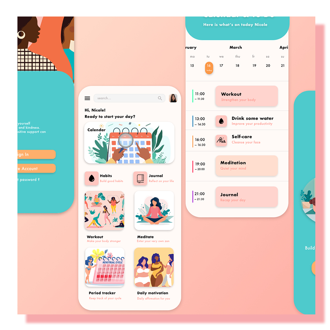 Three cell phone screen views showing the design of a self-care app