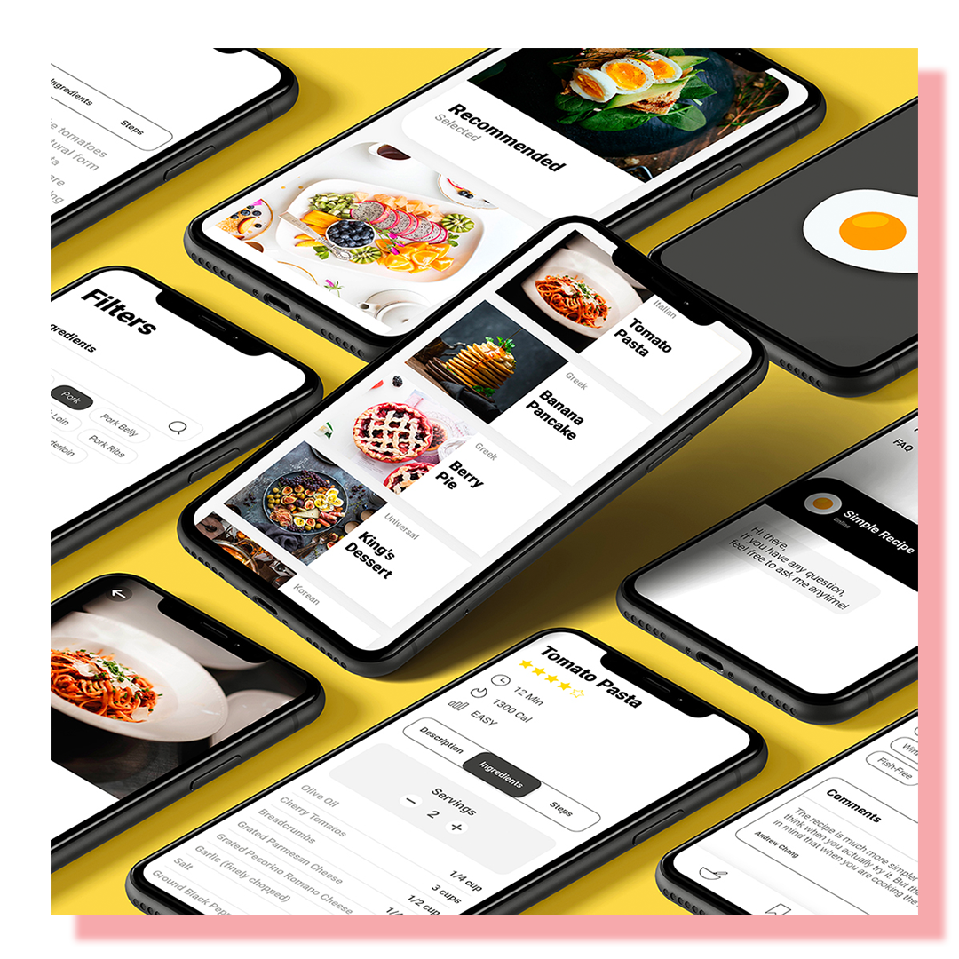 Several cell phone screens displaying protype designs for a food app.