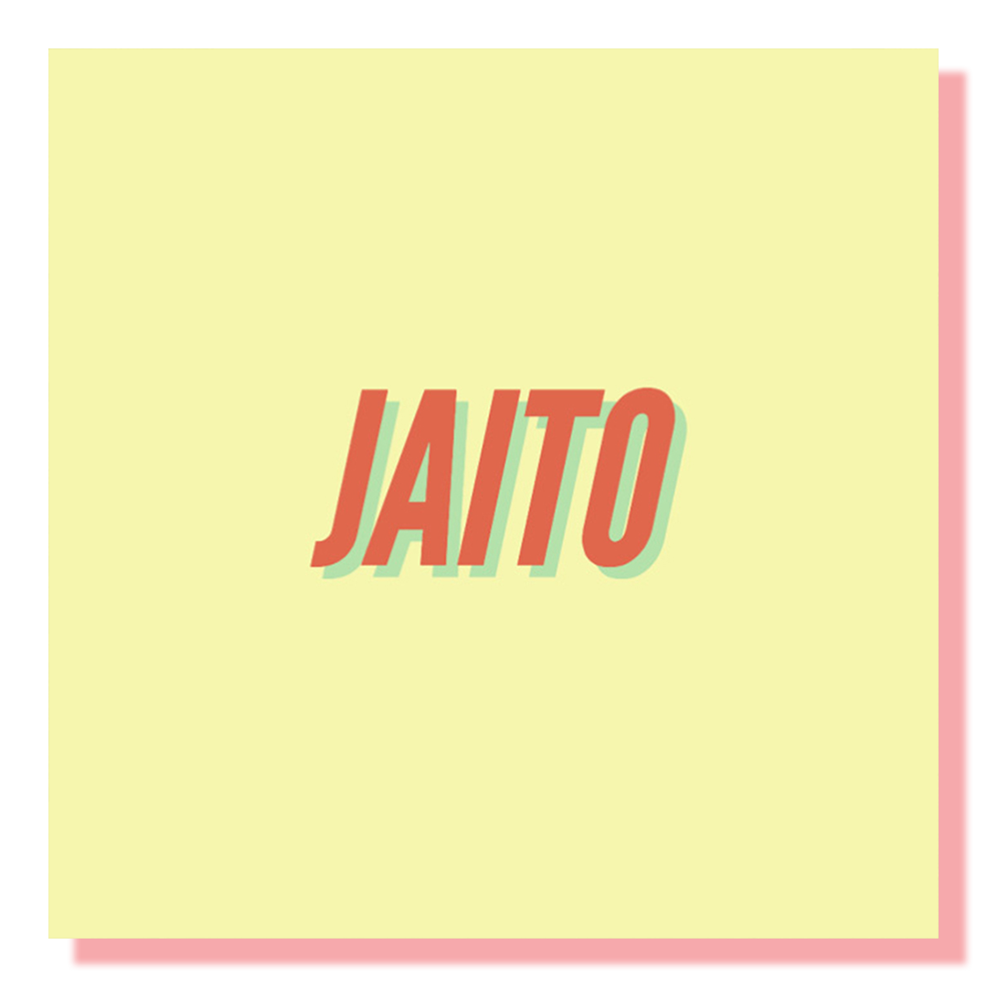 An orange logo with letters JAITO on a solid yellow background