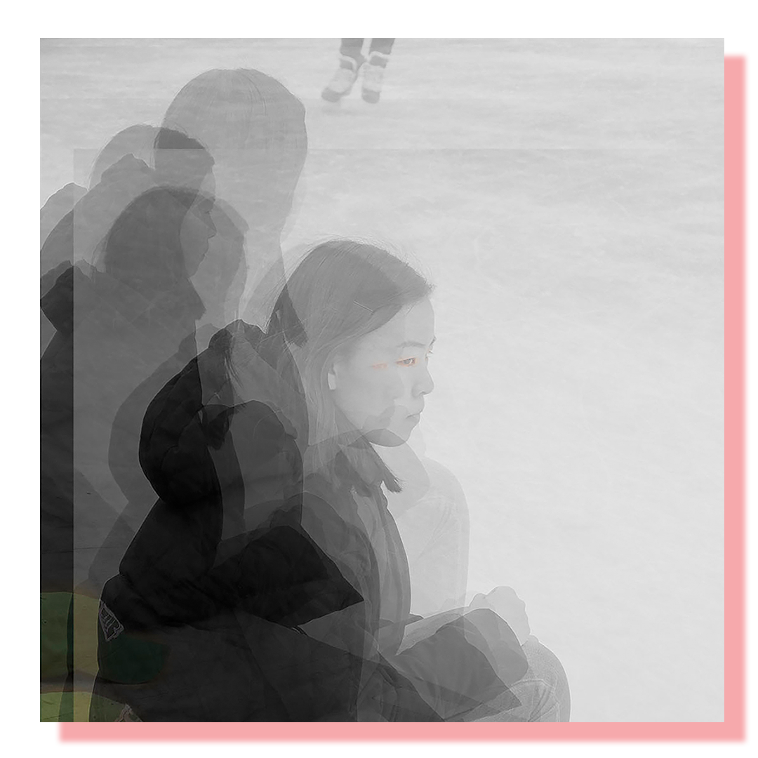 Black and white portrait of a girl seated on a skating rink. Displayed as a layered double exposure.
