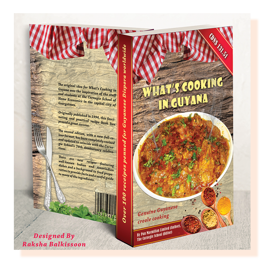 A book design showing the front and back. Cover has a bowl of food and the text reads What's Cooking in Guyana