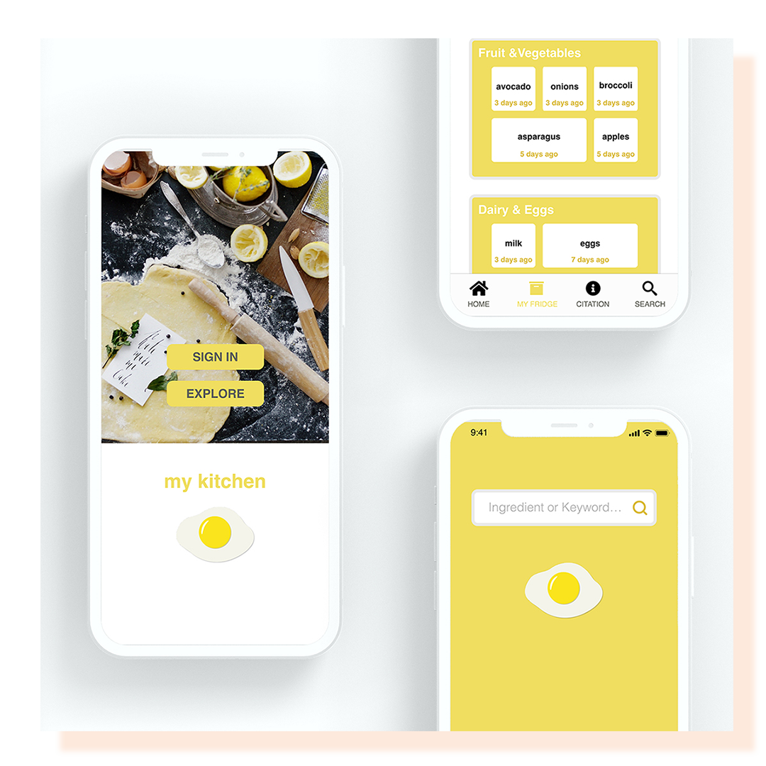 Several cell phone screens displaying yellow and grey protype designs for a kitchen app.