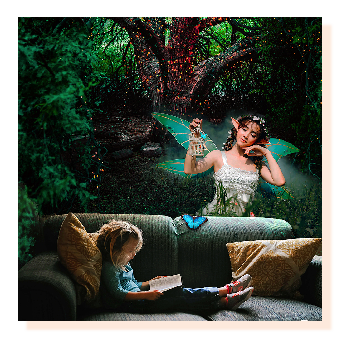 Girl reading a book on sofa with a fairy in the background forest.