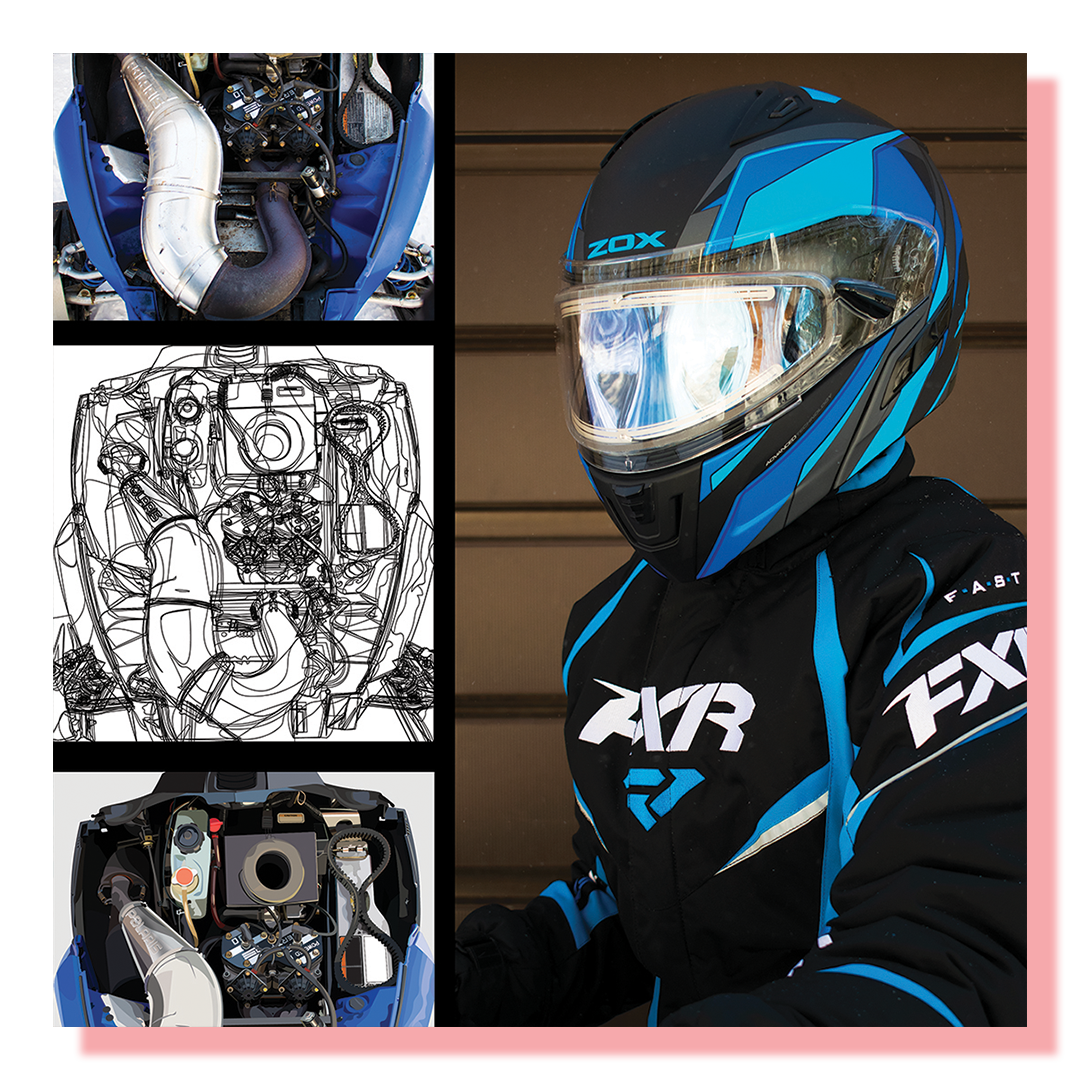 Three images of a snowmobile engine detail and one snowmobile rider in a snow suit.