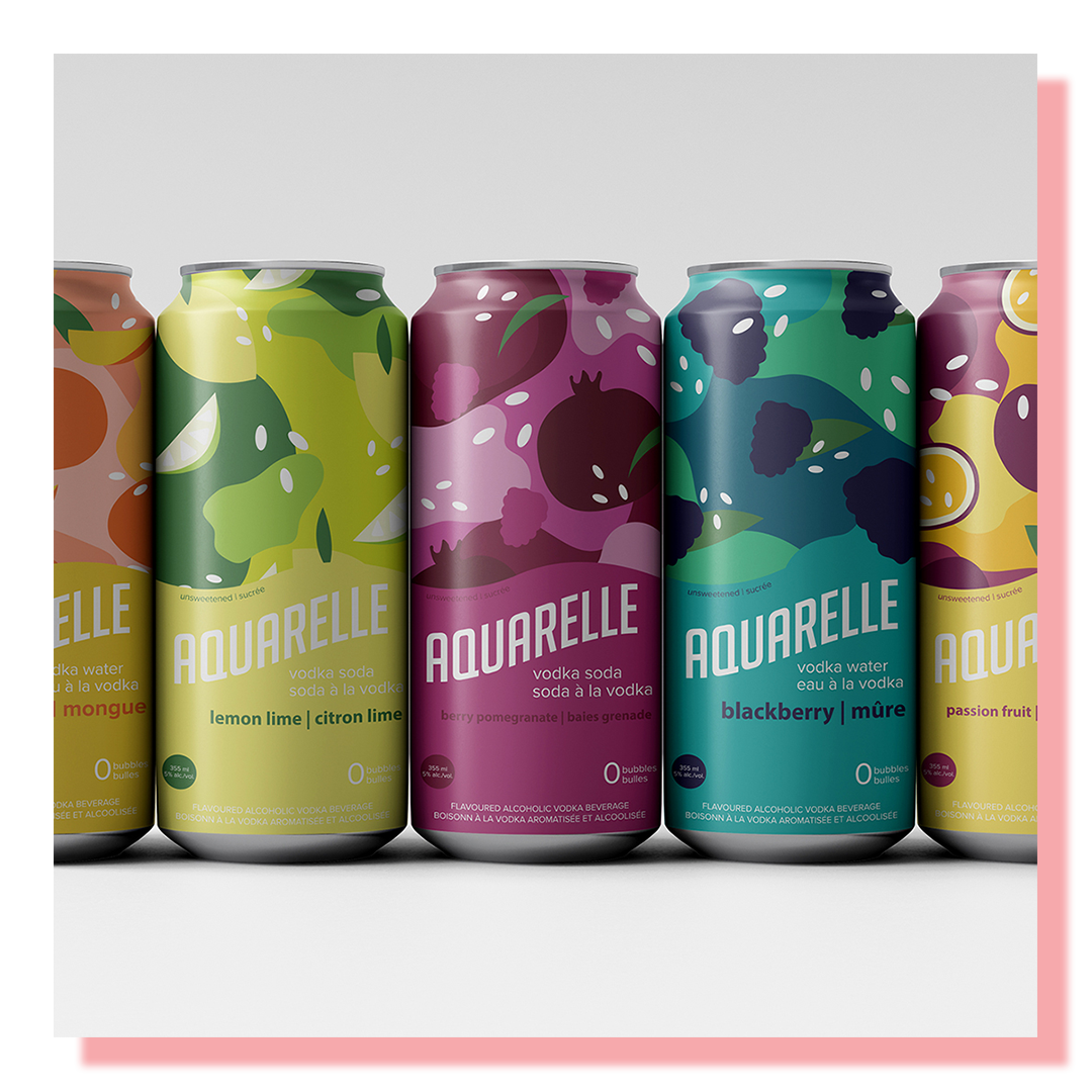 5 drink cans with brightly coloured logo design