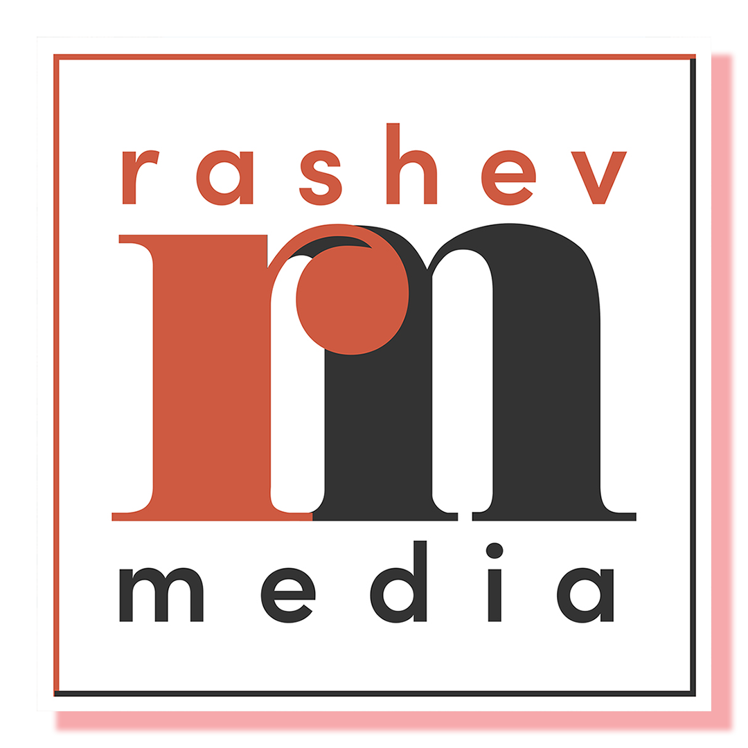 logo in red and black, portraying initials r and m overlapping.