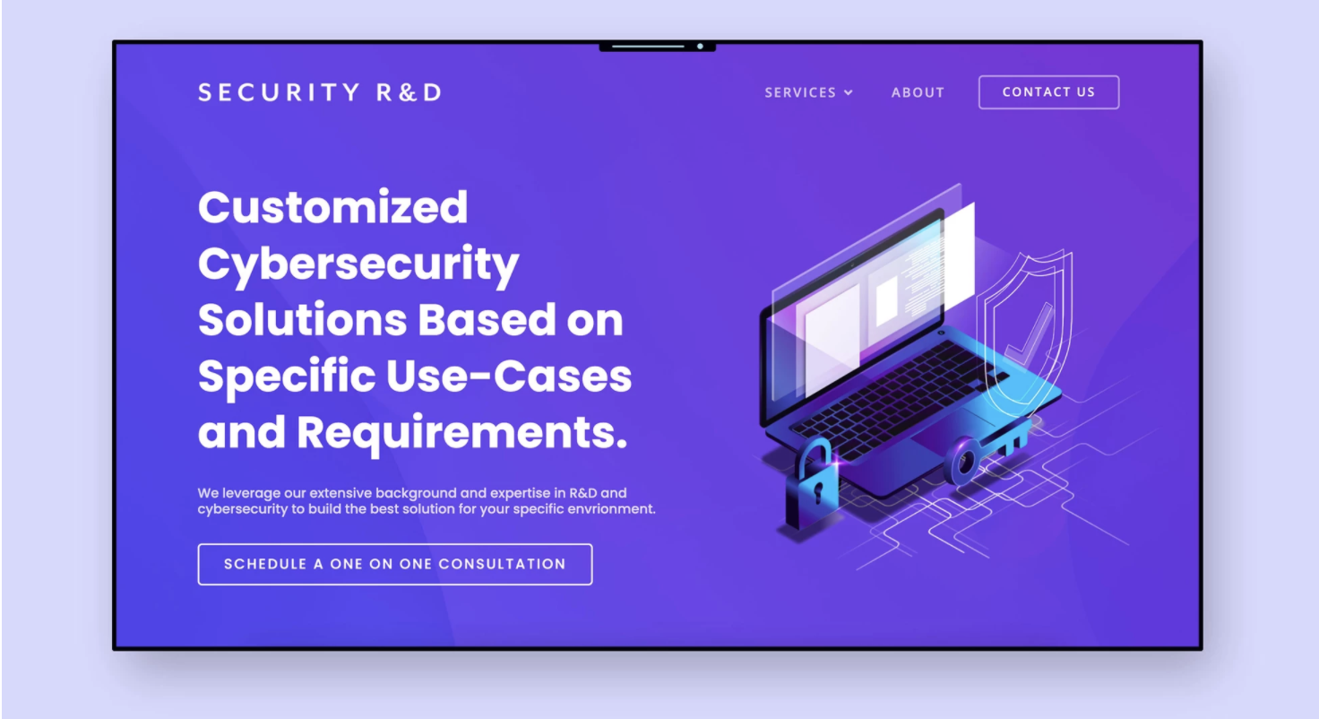 """An ad of a purple laptop on a purple background. On the computer screen reads """"Security R&D"""" """"Security Solutions, Based on Specific Use-cases"""" In white type."""