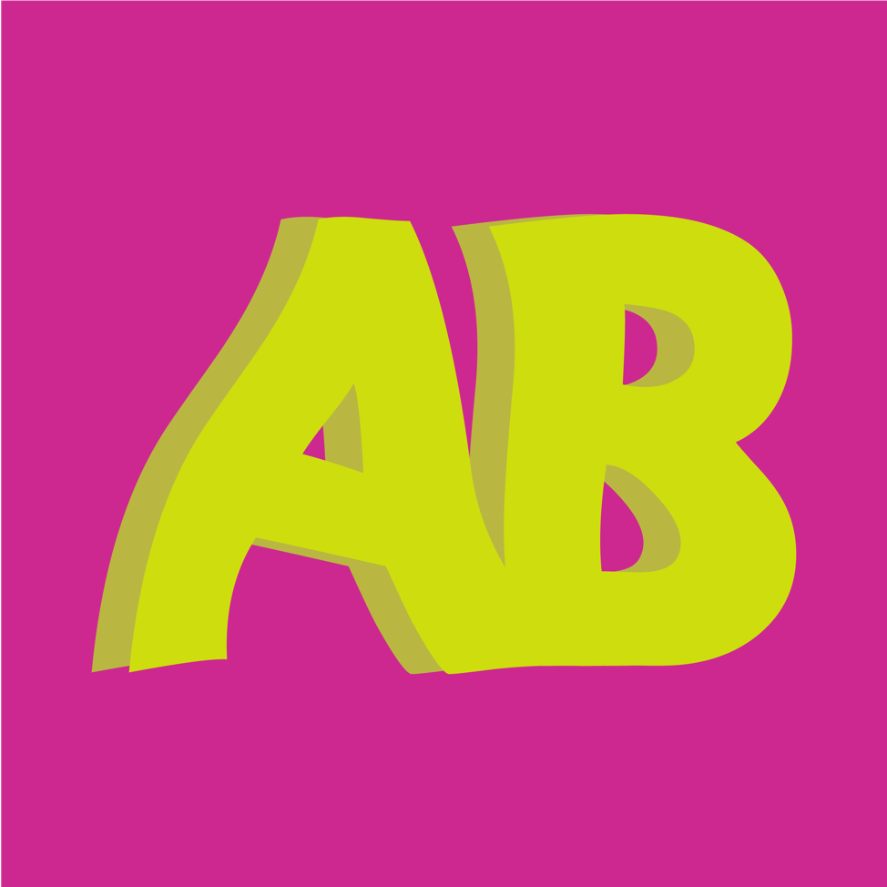 Bright yellow, 3D letters 'a' & 'b' on a hot pink background.