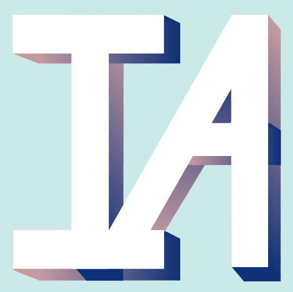 Captial letters 'i' and 'a' in white with a colorful gradient edge on a light blue background.