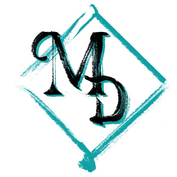 Cursive, capital letter M & D inside a teal, diamond shape.