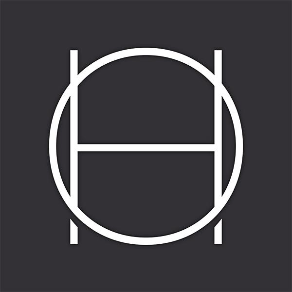 White capital 'O' with a white capital 'H' inside on a black background.