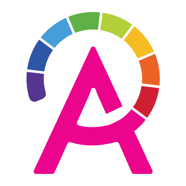 Capital letter 'A' with a color spectrum circling the top of the letter.