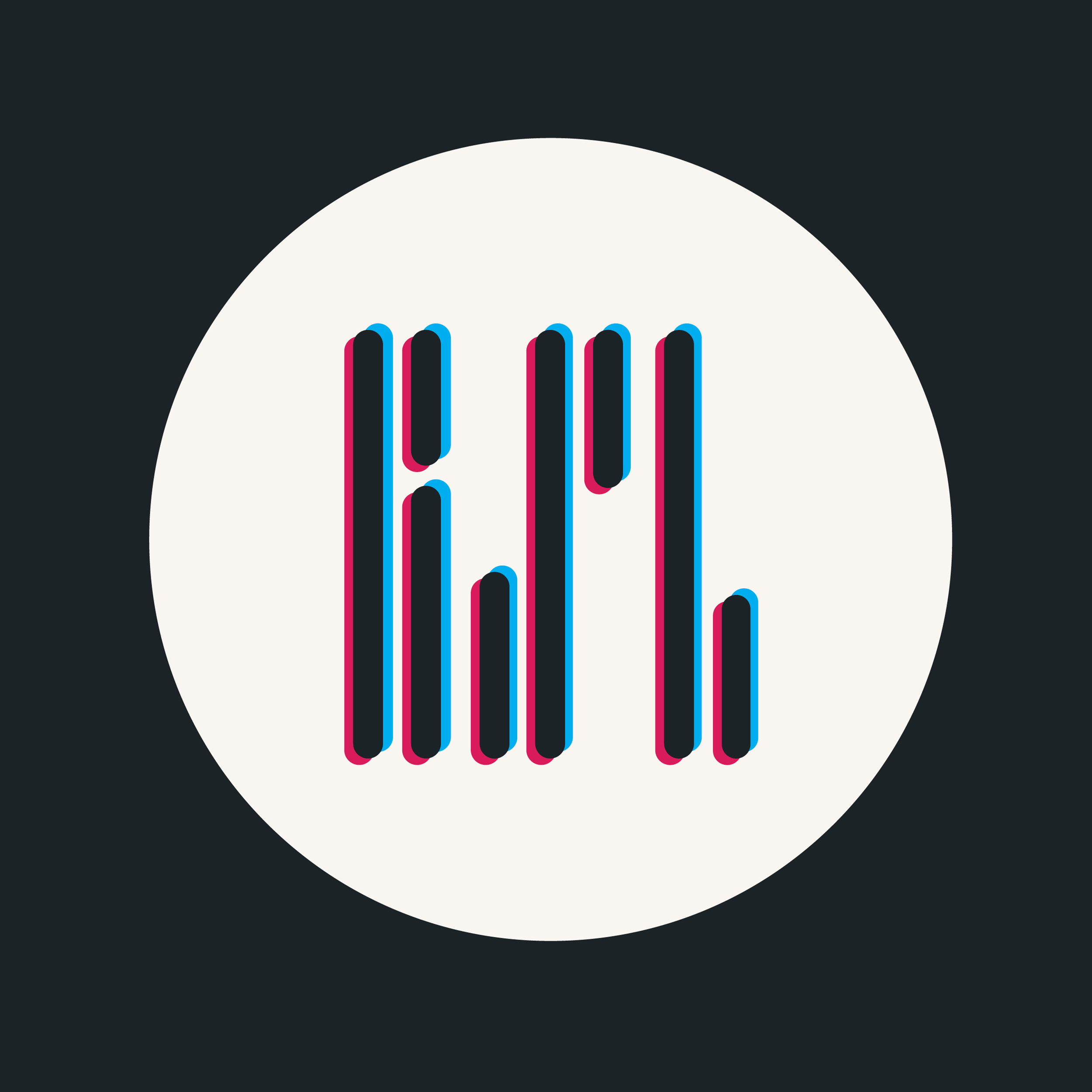 Abstract 'r', 's' and 'l' letters made up of rounded edge bars with ablur effect inside of a white circle.