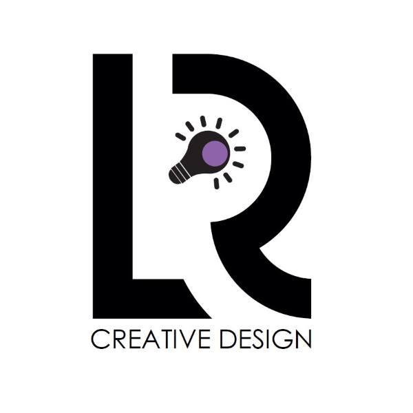 Black letter L and R with a lightbulb between the two letters witht he word 'creative design' underneath.