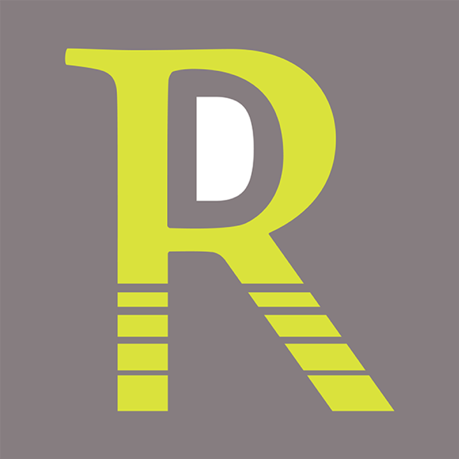 Lime green letter 'r' with a letter 'd' in the bowl of the R on a grey background.