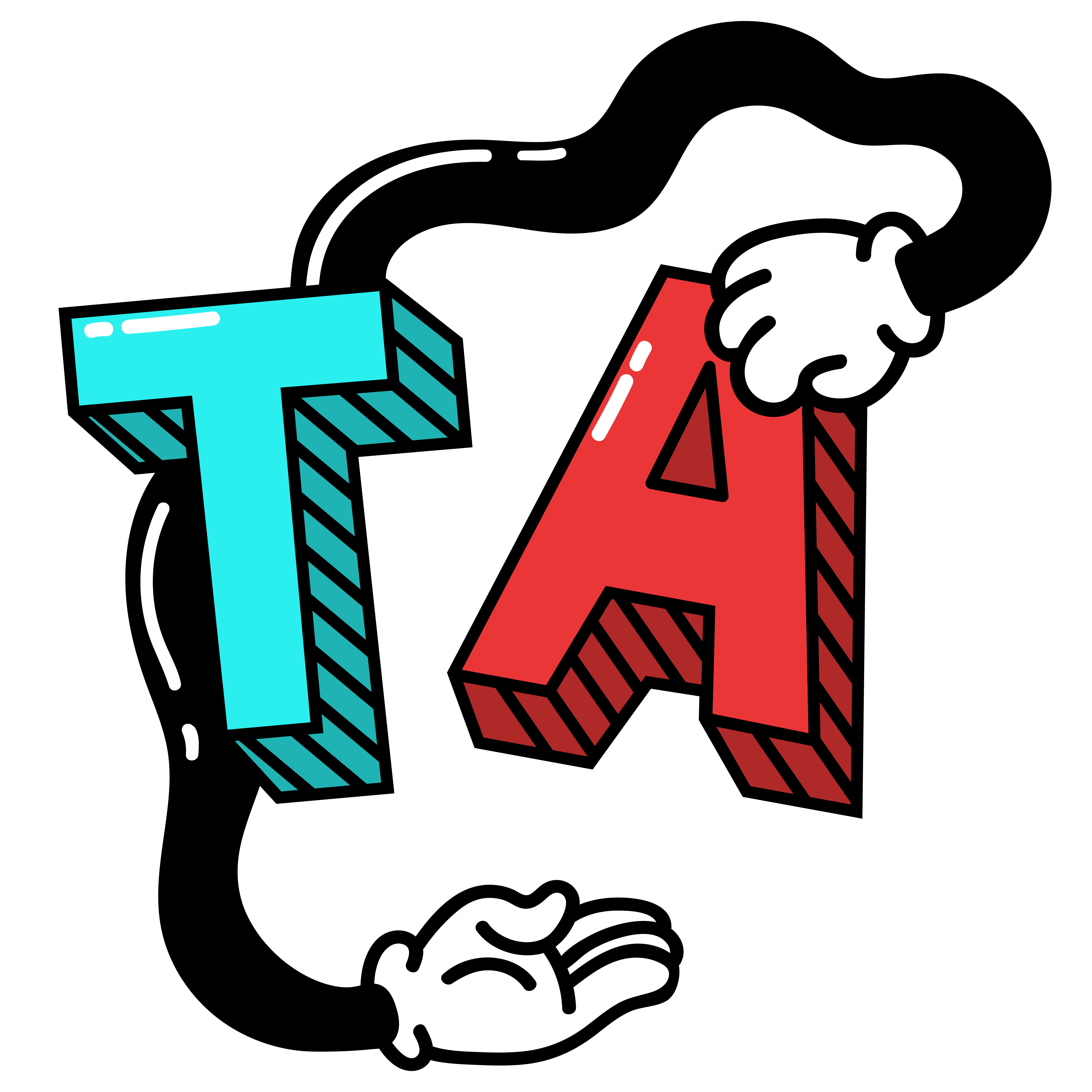 Teal, 3D letter T and red, 3D letter A with black arms and white gloved hands wrapping around the two letters.