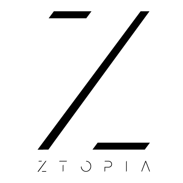 Geometric black letter 'Z' with Ztopia underneath on a white background.
