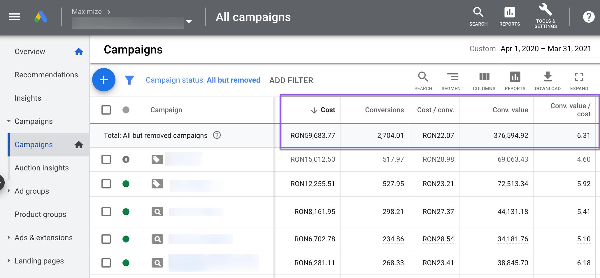 Google campaign screen shot