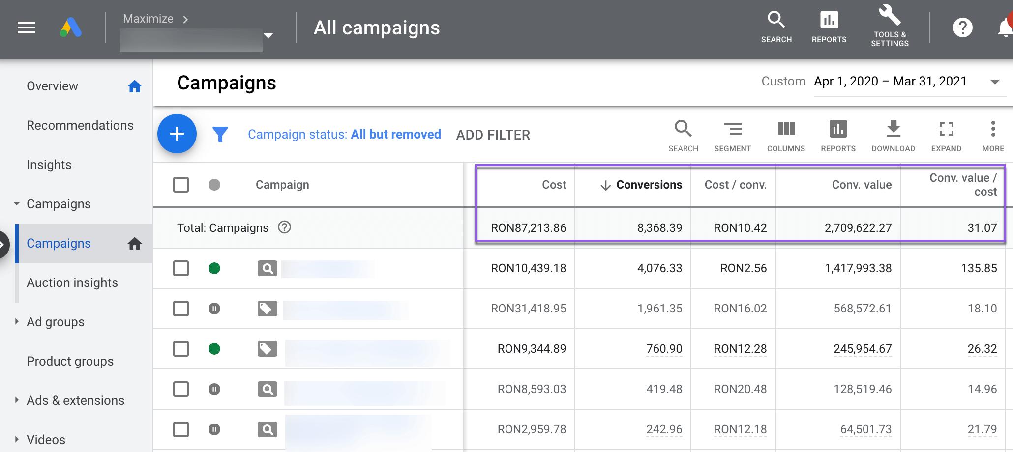 Agentia Maximize Rezultate Google Ads