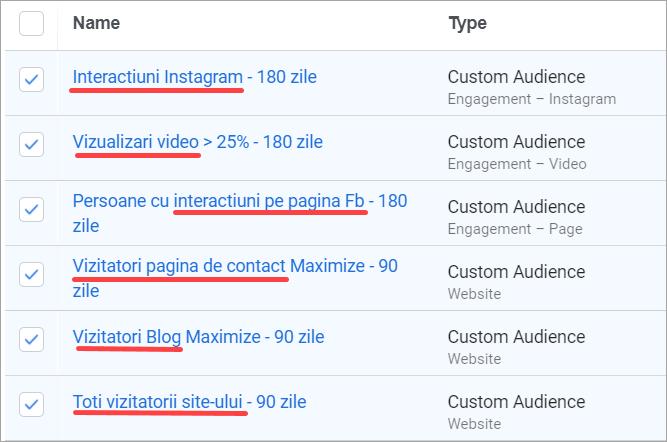 Exemplu de audiente calde folosite în contul agentiei Maximize
