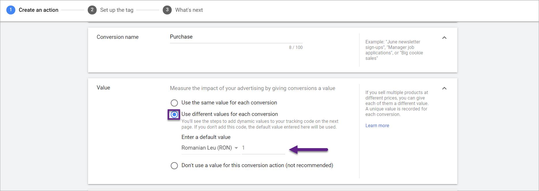 Setarea valorii in conversii google ads tag