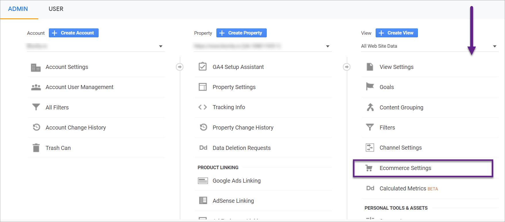 Selectare optiune ecommerce settings