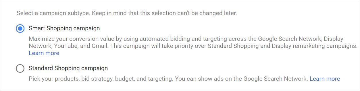 Alegere subtipul campaniei